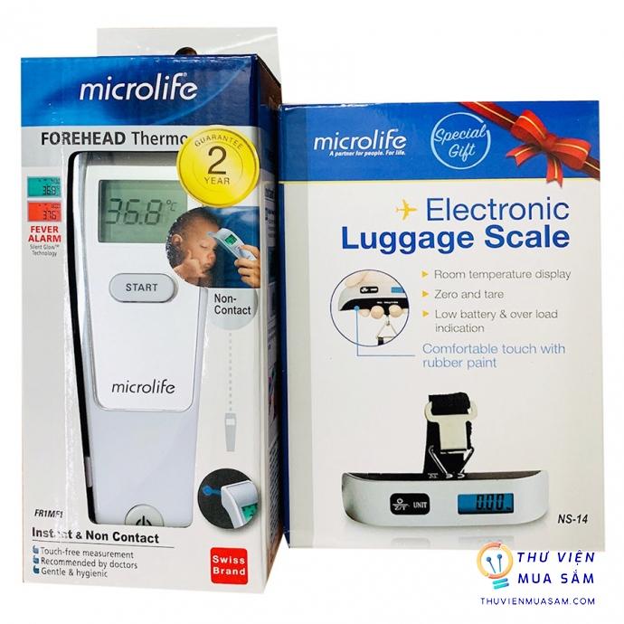 Nhiệt kế hồng ngoại đo trán Microlife FR1MF1 (Tặng kèm cân xách tay mini NS14)